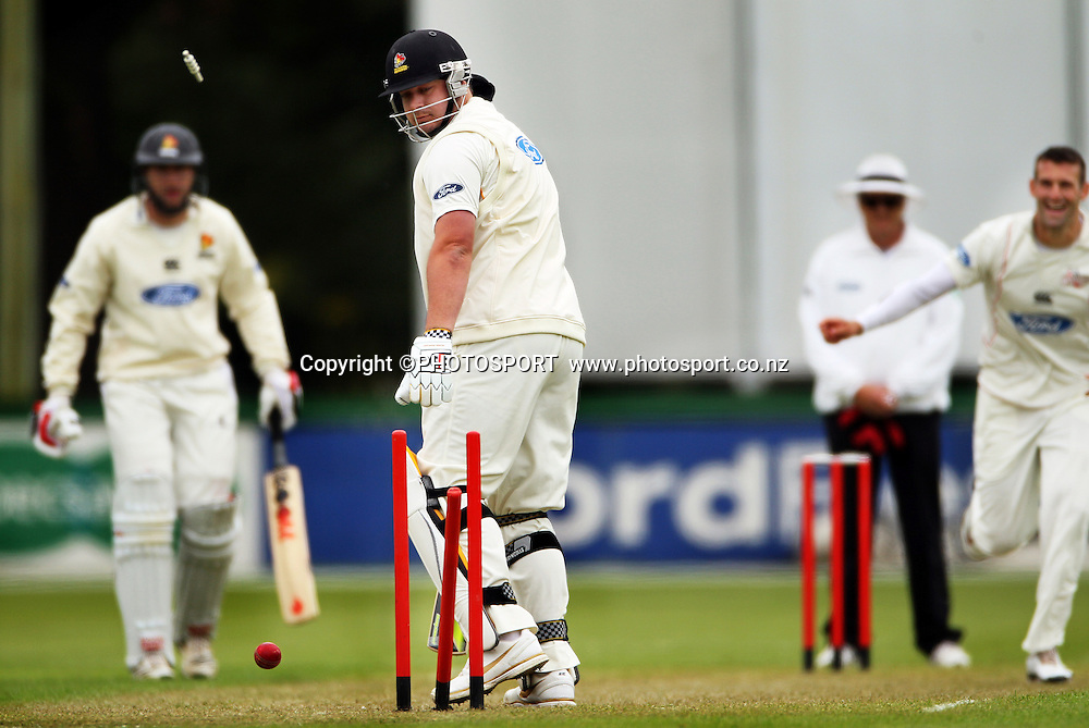Andrew Ellis for Canterbury bowled Jesse Ryder of Wellington. Plunket Shield Cricket, Day 1 of the 4 Day match between Canterbury Wizards v Wellington Firebirds. Played at Mainpower Oval, Rangiora, Monday 19 November 2012. Photo : Joseph Johnson/photosport.co.nz