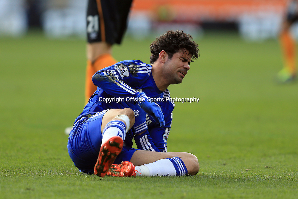 22 March 2015 - Barclays Premier League - Hull City v Chelsea - Diego Costa of Chelsea reacts to a fall - Photo: Marc Atkins / Offside.