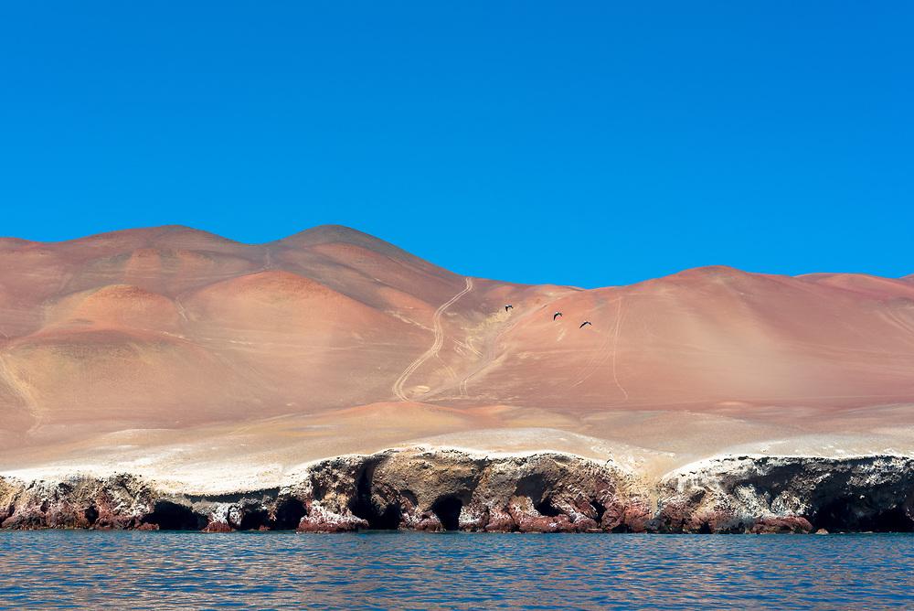 The Paracas desert seen from the ocean.