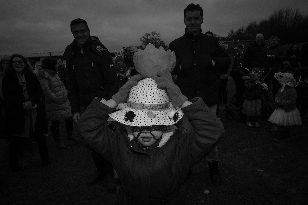 Cracked egg Easter bonnet at the Bunny Hop Easter school fair in Berkhamsted, England Saturday, March 19, 2016 (Elizabeth Dalziel) #thesecretlifeofmothers #bringinguptheboys #dailylife