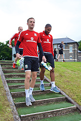 CARDIFF, WALES - Wednesday, June 1, 2016: Wales' Andy King and captain Ashley Williams during a training session at the Vale Resort Hotel ahead of the International Friendly match against Sweden. (Pic by David Rawcliffe/Propaganda)