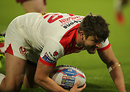 Jon Wilkin of St Helens scores the 1st try of the game against Huddersfield Giants during the Betfred Super League match at the John Smiths Stadium, Huddersfield<br /> Picture by Stephen Gaunt/Focus Images Ltd +447904 833202<br /> 23/02/2018