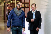 Getafe CF's President Angel Torres (r) and the coach Jose Bordalas during the Christmas visit to the Children's Hospital of the city. December 12,2017. (ALTERPHOTOS/Acero)