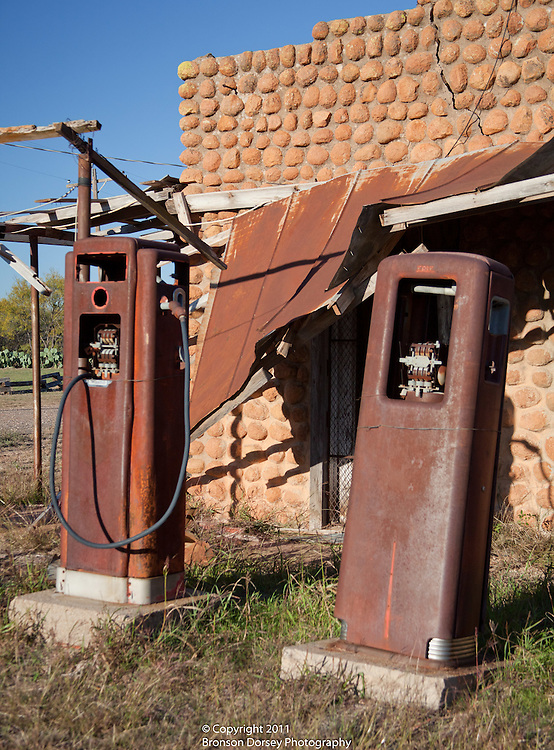 Rusted relics of abandoned gas station in Medicine Mound, Texas.