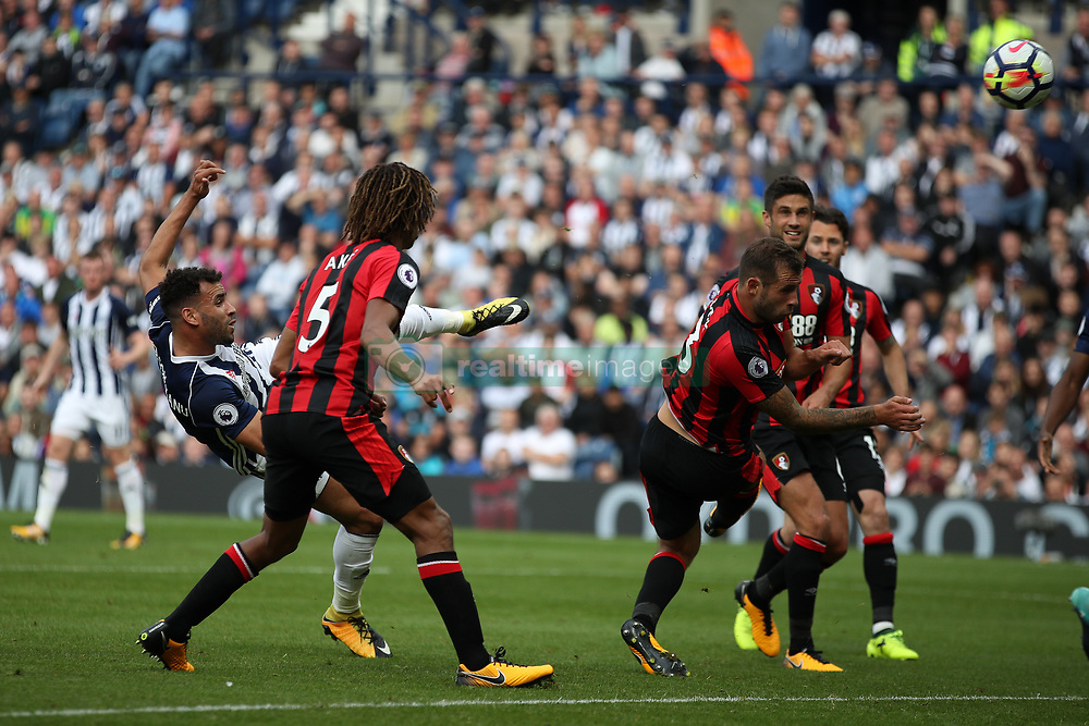 West Bromwich Albion's Hal Robson-Kanu has a shot on target during the Premier League match at The Hawthorns, West Bromwich.