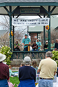 Bar Harbor, USA. 29 April, 2017. David McDonald, President and CEO of Friends of Acadia, addresses the crowd at the Downeast Climate March.