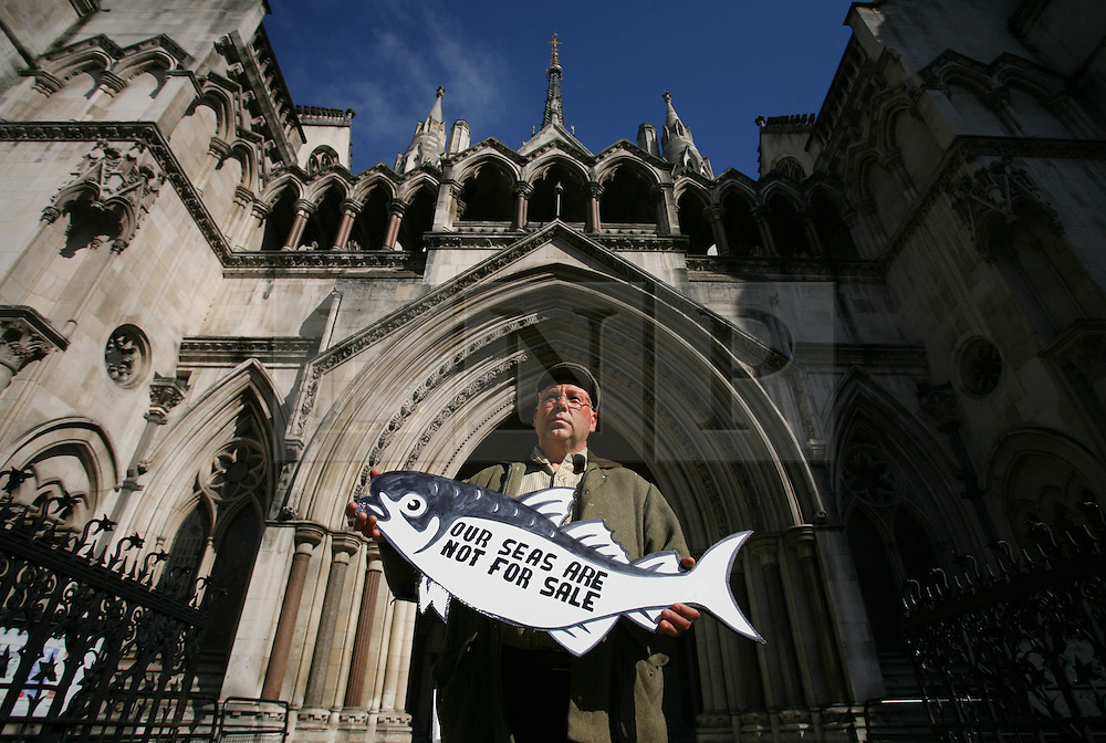 © Licensed to London News Pictures 01/05/2013.Fisherman Kirk Stribling from Suffolk was one of 10 fishermen, supported by Greenpeace, to arrive at the High Court in London, to hear the start of a landmark legal case regarding who controls Britain's fishing quota. Large companies control 95% of the quota, in contrast to small scale fishermen who have access of 4% of fishing rights. Large companies are bringing the government to court over its decision to re-locate a small surplus amount of fishing quota.  .Greenpeace supports the more sustainable small scale fishermen..London, UK.Photo: Anna Branthwaite/LNP