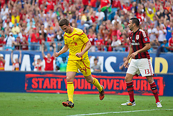 CHARLOTTE, USA - Saturday, August 2, 2014: Liverpool's Joe Allen scores the first goal against AC Milan during the International Champions Cup Group B match at the Bank of America Stadium on day thirteen of the club's USA Tour. (Pic by David Rawcliffe/Propaganda)