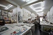 Liulichang art and antiquities street. Rongbao Zhai art shop. Color wood prints.