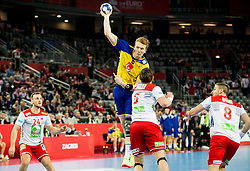 Simon Jeppsson of Sweden during handball match between National teams of Sweden and Norway on Day 7 in Main Round of Men's EHF EURO 2018, on January 24, 2018 in Arena Zagreb, Zagreb, Croatia.  Photo by Vid Ponikvar / Sportida