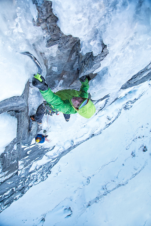 "Alpinist Raphael Slawinski climbing his route ""French Roast"" WI 5, M6 on the Stanley Headwall in Kootenay Provincial Park (First Ascent 2008)"