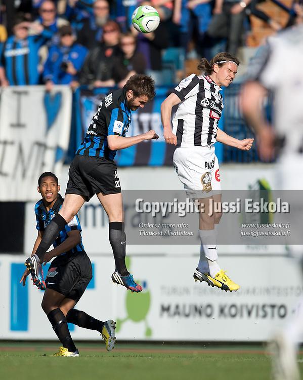 Mika Ääritalo (oik), Tuomo Turunen. TPS - Inter. Veikkausliiga. Turku, 13.5.2013. Photo: Jussi Eskola