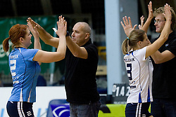 Coach of Calcit Volleyball Franci Obolnar and Tjasa Turnsek during volleyball match between Calcit Volleyball and A. Linz-Steg in Mevza league on October 23, 2010 at Sport Halli, Kamnik, Slovenia. (Photo By Matic Klansek Velej / Sportida.com)