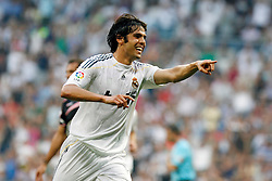 Real Madrid's Kaka celebrates goal during La Liga match.August 29 2009. .