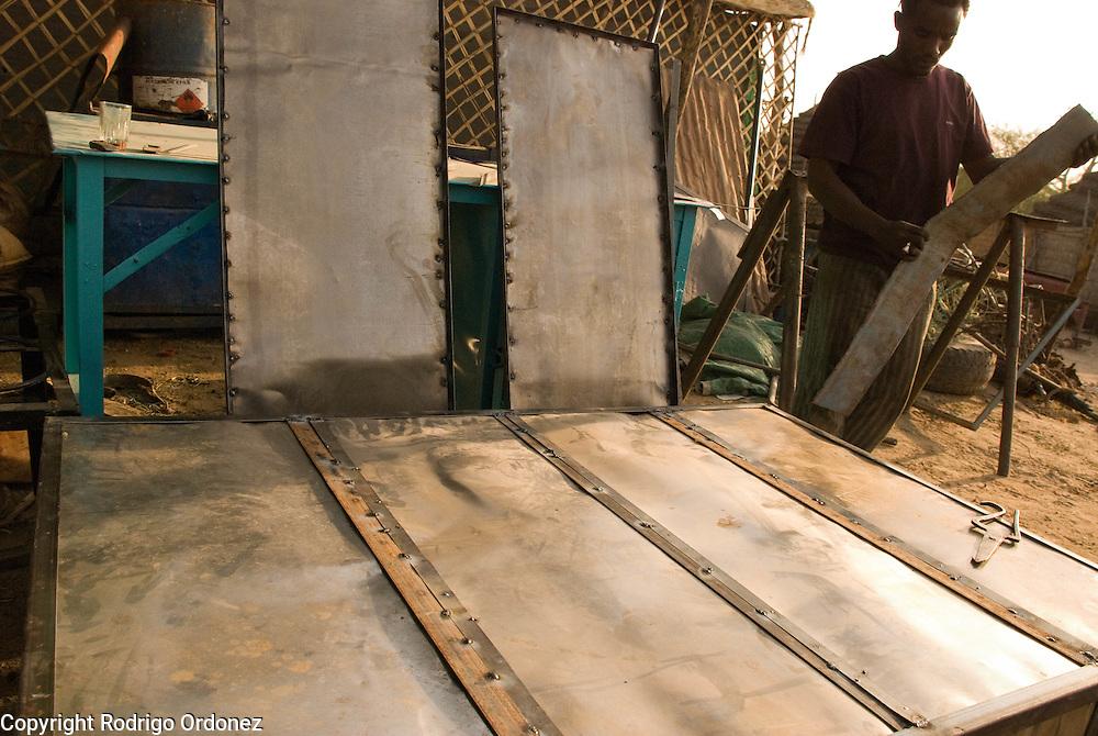 Blacksmithing workshop in the market of Abyei.