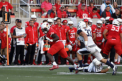02 September 2017:   Markel Smith makes a break for it with Ethan Brunhofer in pursuit during the Butler Bulldogs at  Illinois State Redbirds Football game at Hancock Stadium in Normal IL (Photo by Alan Look)