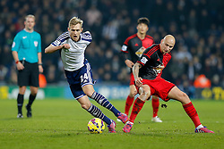 Darren Fletcher of West Brom is challenged by Jonjo Shelvey of Swansea City - Photo mandatory by-line: Rogan Thomson/JMP - 07966 386802 - 11/02/2015 - SPORT - FOOTBALL - West Bromwich, England - The Hawthorns - West Bromwich Albion v Swansea City - Barclays Premier League.