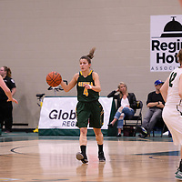 2nd year guard Avery Pearce (4) of the Regina Cougars in action during the home game on December  3 at Centre for Kinesiology, Health and Sport. Credit: Matt Johnson/Arthur Images