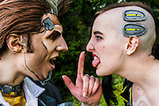 Handsome Jack and Angel from Borderlands.  Cosplayer at Animefest 2015 in the city of Brno, czech republic.