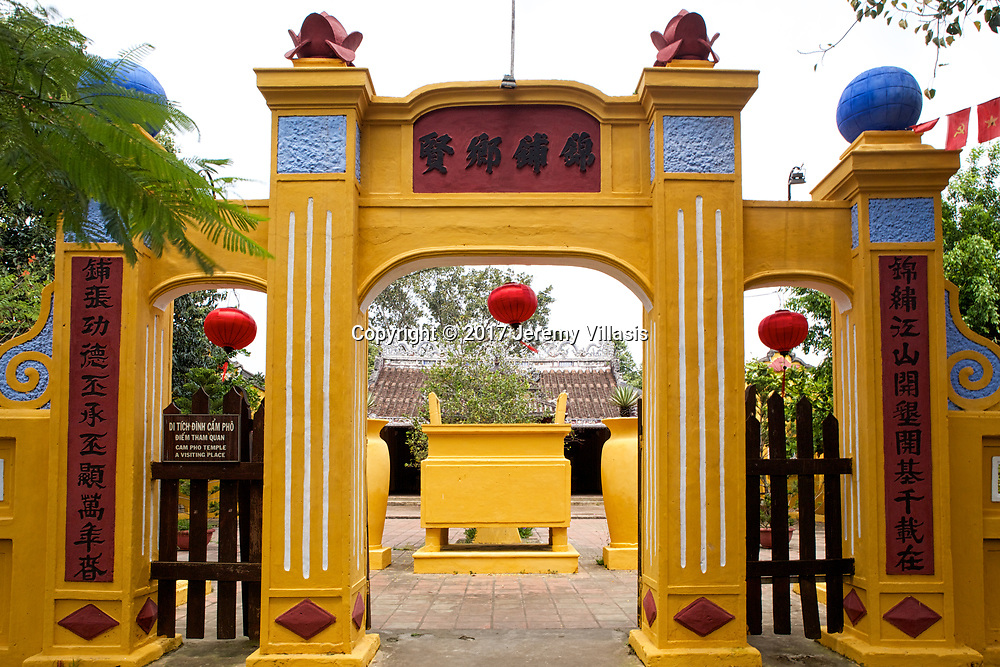 Gate of the Cam Pho Temple (Cam Pho Communal House), a typical old village temple in Hoi An.