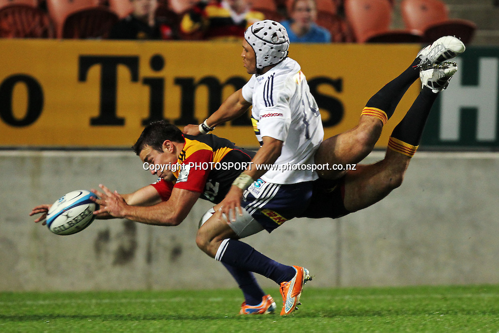 Chiefs' Richard Kahui is pushed by Stormers' Gio Aplon as he goes for the touch down which resulted a penalty try. Super 15 rugby union match, Chiefs v Stormers at Waikato Stadium, Hamilton, New Zealand. Saturday 14th May 2011. Photo: Anthony Au-Yeung / photosport.co.nz