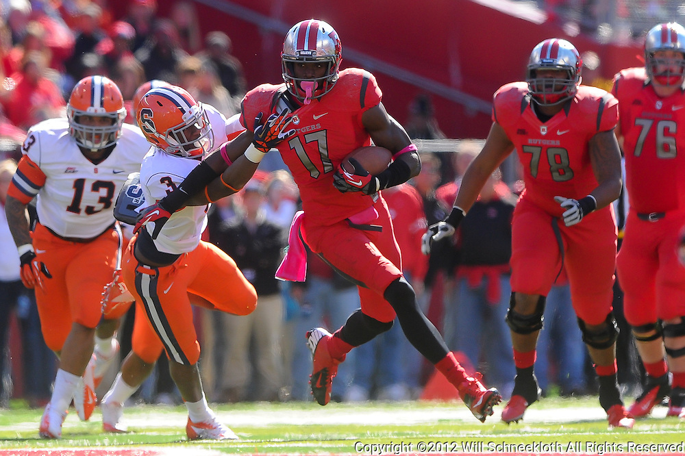 Oct 13, 2012: Rutgers Scarlet Knights wide receiver Brandon Coleman (17) stiff-arms Syracuse Orange safety Durell Eskridge (3) during NCAA Big East college football action between the Rutgers Scarlet Knights and Syracuse Orange at High Point Solutions Stadium in Piscataway, N.J.