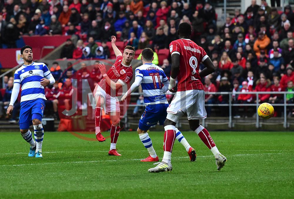 Joe Bryan of Bristol City shoots  - Mandatory by-line: Joe Meredith/JMP - 27/01/2018 - FOOTBALL - Ashton Gate Stadium - Bristol, England - Bristol City v Queens Park Rangers - Sky Bet Championship