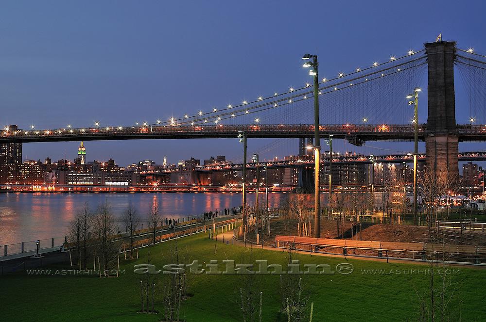 Brooklyn Bridge Park after sunset