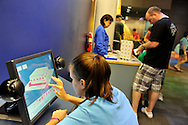 Downtown Charlotte science museum Discovery Place, new hands-on and marine exhibits opened summer 2010. This is the Computer for creating 3-D projects onscreeen in new Project Build exhibit