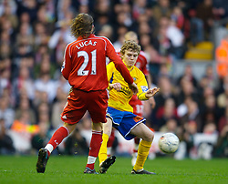 LIVERPOOL, ENGLAND - Saturday, January 26, 2008: Havant and Waterlooville's Alfie Potter in action against Liverpool during the FA Cup 4th Round match at Anfield. (Photo by David Rawcliffe/Propaganda)