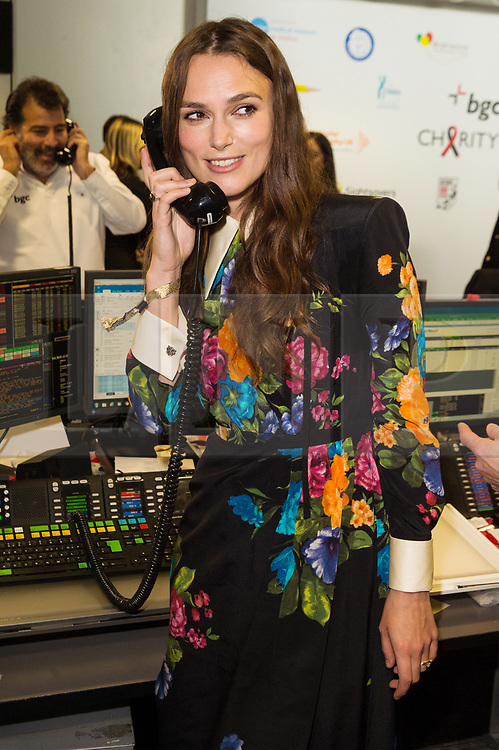© Licensed to London News Pictures. 11/09/2017. Actress KIERA KNIGHTLEY takes part in the on the annual BGC Partners Charity Day in commemoration of its 658 friends and colleagues and 61 Eurobroker employees lost in the World Trade Center attacks on 9/11. PIcture Credit: Tang/LNP
