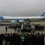 Well wishers watch as the casket carrying former President Ronald Reagan is loaded aboard Special Air Missions 28000 for a flight back to California Friday, June 11, 2004, at Andrews Air Force, MD.  ..Photo by Khue Bui