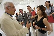 Giardini. Japanese Pavillion Grand Opening. Biennale President Paolo Baratta (White Jacket).