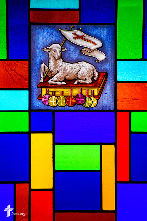 Stained glass depicting the Lamb of God (Agnus Dei) at Zion Lutheran Church, Worms, Neb., on Saturday, Sept. 23, 2017. LCMS Communications/Erik M. Lunsford