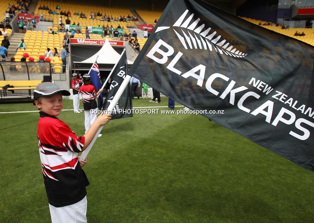 Flag Bearer. New Zealand Black Caps v Pakistan, ODI Cricket. Match 1, Westpac Stadium, Wellington, New Zealand. Saturday 22 January 2011. Photo: Andrew Cornaga/photosport.co.nz