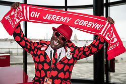 © Licensed to London News Pictures . 23/09/2018. Liverpool, UK. Labour Party supporter JOSEPH AFRANE poses for photos at the Conference . The first day of the 2018 Labour Party Conference at the Arena and Convention Centre in Liverpool . Photo credit: Joel Goodman/LNP