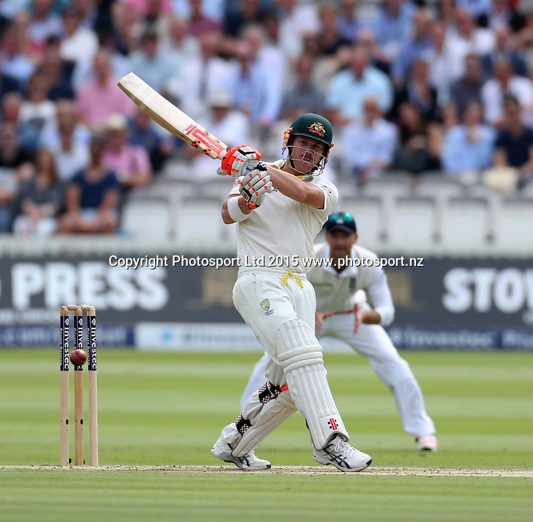 David Warner, four off Mark Wood, during the second Investec Ashes Test Match between England and Australia at Lord's Cricket Ground, London. Photo: Graham Morris/www.cricketpix.com (Tel: +44 (0)20 8969 4192; Email: graham@cricketpix.com) 16072015