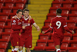 LIVERPOOL, ENGLAND - Friday, September 22, 2017: Liverpool's Harry Wilson celebrates scoring the third goal, his hat-trick, with team-mates Matthew Virtue and Rhian Brewster during the Under-23 FA Premier League 2 Division 1 match between Liverpool and Tottenham Hotspur at Anfield. (Pic by David Rawcliffe/Propaganda)