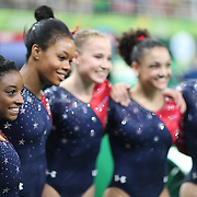 Gymnastics - Olympics: Day 2  The United States team of  Simone Biles #391, Gabrielle Douglas #392, Madison Kocian #394, Lauren Hernandez #393 and Alexandra Raisman #395 after  the Artistic Gymnastics Women's Qualification round at the Rio Olympic Arena on August 7, 2016 in Rio de Janeiro, Brazil. (Photo by Tim Clayton/Corbis via Getty Images)