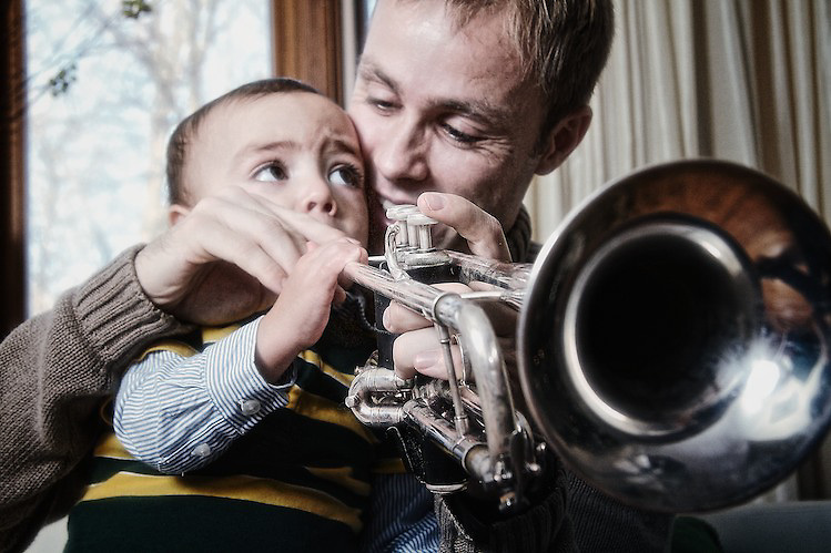 The first trumpet lesson.