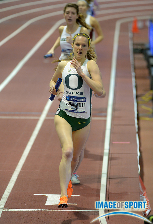 Mar 14, 2014; Albuquerque, NM, USA; Megan Patrignelli runs the 1,600m anchor leg on the Oregon womens distance medley relay in the 2014 NCAA Indoor Championships at Albuquerque Convention Center.