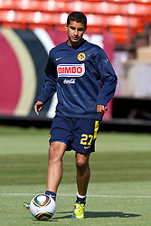 August 3, 2010; San Francisco, CA, USA;  Club America forward Antonio López (27) practices at Candlestick Park a day before their match with Real Madrid.