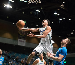 March 20, 2017 - Reno, Nevada, U.S - Reno Bighorn Guard LUIS MONTERO (2) soars to the hoop against Texas Legends Guard KYLE COLLINSWORTH (6) during the NBA D-League Basketball game between the Reno Bighorns and the Texas Legends at the Reno Events Center in Reno, Nevada. (Credit Image: © Jeff Mulvihill via ZUMA Wire)