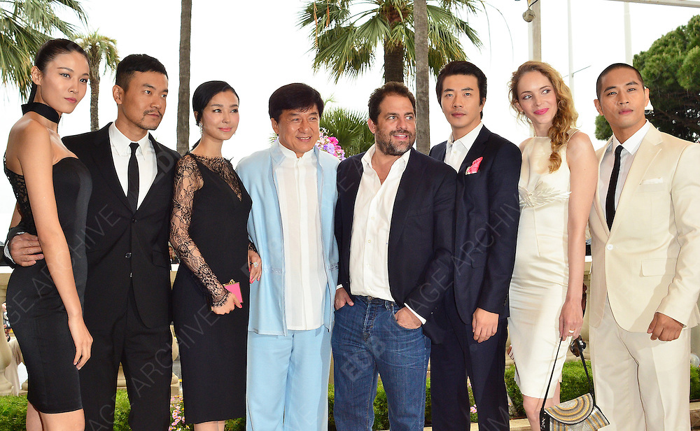 18.MAY.2012. CANNES<br /> <br /> CHINESE ZODIAC PHOTOCALL AT THE CARLTON HOTEL IN CANNES<br /> <br /> L-R: YAO XINGTONG, LIAO FAN, ZHANG NAN XIN, JACKIE CHAN, BRETT RATNER, KWONE SANG WOO, LAURA WEISSBECKER AND STEVE WOO. <br /> <br /> BYLINE: EDBIMAGEARCHIVE.COM<br /> <br /> *THIS IMAGE IS STRICTLY FOR UK NEWSPAPERS AND MAGAZINES ONLY*<br /> *FOR WORLD WIDE SALES AND WEB USE PLEASE CONTACT EDBIMAGEARCHIVE - 0208 954 5968*