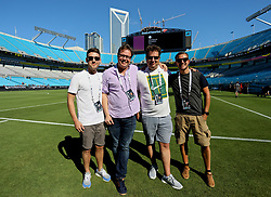 CHARLOTTE, USA - Saturday, July 21, 2018: The Anfield Wrap's Craig Hannan, Neil Atkinson, John Gibbons and Gareth Roberts during a training session at the Bank of America Stadium ahead of a preseason International Champions Cup match between Borussia Dortmund and Liverpool FC. (Pic by David Rawcliffe/Propaganda)