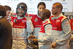 20.10.2011, Real Madrid, Audi's car giving show,im Bild Real Madrid's Xabi Alonso, Hamit Altintop, Sami Khedira, Lass Diarra and Pepe joke during AUDI's car giving show. October 18, 2011  // during the Audi's car giving show to real madrid players on 20/10/2011. EXPA Pictures © 2011, PhotoCredit: EXPA/ Alterphoto/ Alvaro Hernandez +++++ ATTENTION - OUT OF SPAIN/(ESP) +++++
