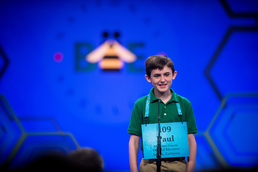 Paul Hamrick, 13, from Monterey, Calif., participates in the finals of the 2017 Scripps National Spelling Bee on Thursday, June 1, 2017 at the Gaylord National Resort and Convention Center at National Harbor in Oxon Hill, Md.      Photo by Pete Marovich/UPI