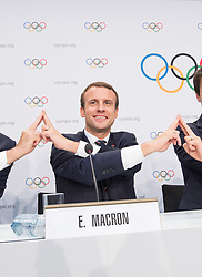 LAUSANNE, July 11, 2017  French President Emmanuel Macron poses for photo during a press conference after the presentation of the Paris 2024 Candidate City Briefing for International Olympic Committee (IOC) members at the SwissTech Convention Centre, in Lausanne, Switzerland, July 11, 2017. (Credit Image: © Xu Jinquan/Xinhua via ZUMA Wire)