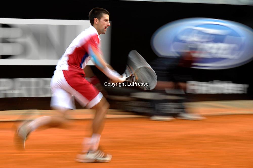 Foto Alfredo Falcone - LaPresse<br /> 18/05/2012 Roma ( Italia)<br /> Sport Tennis<br /> Internazionali BNL d'Italia 2012<br /> Novak Djocovic (SRB) - Jo-Wilfried Tsonga (FRA)<br /> Nella foto:Novak Djocovic<br /> Novak Djocovic (SRB) - Jo-Wilfried Tsonga (FRA)<br /> Photo Alfredo Falcone - LaPresse<br /> 18/05/2012 Roma (Italy)<br /> Sport Tennis<br /> Internazionali BNL d'Italia 2012<br /> In the pic:Novak Djocovic