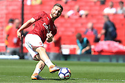 Arsenal defender Shkodran Mustafi (20) warms up before the Premier League match between Arsenal and West Ham United at the Emirates Stadium, London, England on 22 April 2018. Picture by Bennett Dean.